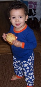 Here, our son, Ivan, demonstrates consumption of a kosher (though not kosher-for-Passover) biscuit