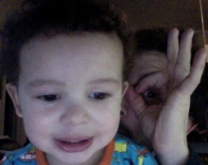 Our son, Ivan, and I checking out my Facebook page.