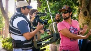 Filmmaker Alex Munoz at work directing a steadicam shot
